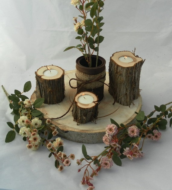 Juniper log candle holders rustic wedding by countrychapel