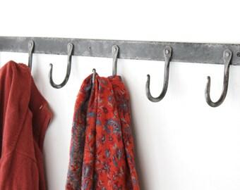 "36"" Rustic Hand Forged Coat Hook Rack, Blacksmith Steel Hanger"