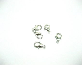 Lobster Clasps Lobster Claw Clasps 12mm Silver Closure Silver Lobster Clasp Choose From 10, 20, or 50 Pieces Jewelry Supplies Parrot Clasps