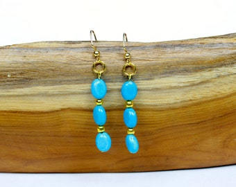 Turquoise and Gold Minimalist Earrings Dangle Earrings Turquoise Jewelry Gold Earrings Summer Earrings Beach Jewelry  Beach Wedding Jewelry