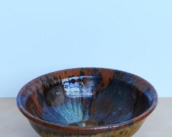 SALE Vintage Handmade Glazed Ceramic Bowl in Blue Brown and Gold