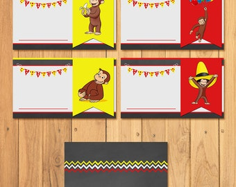 Curious George Food Tents Chalkboard * Curious George Birthday * Curious George Food Labels * Curious George Party Favors