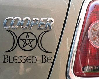 """8"""" Blessed Be Triple Moon & Pentagram Gloss Vinyl Car Sticker"""