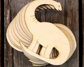 10 x Wooden Diplodocus Dinosaur Craft Shapes 3mm Plywood