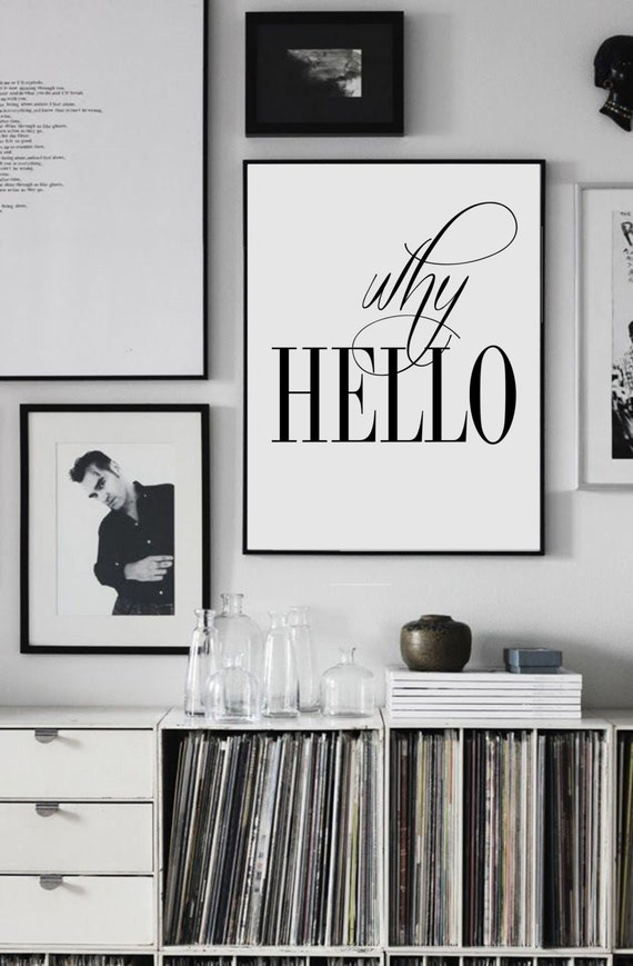 why hello scandinavian poster affiche scandinave. Black Bedroom Furniture Sets. Home Design Ideas