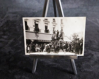 Postcard black and white scene of filming in Paris in 1930. Vintage French |