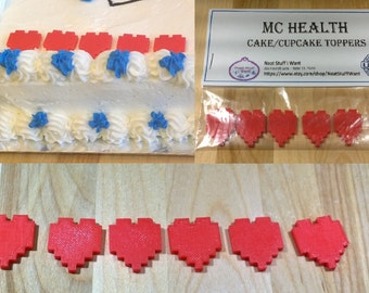 Minecraft Inspired MC Health - Cake/Cup Cake Toppers