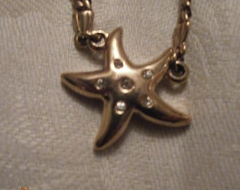 nice vintage goldplated, Necklace,Seastar and white stones,14.9inch