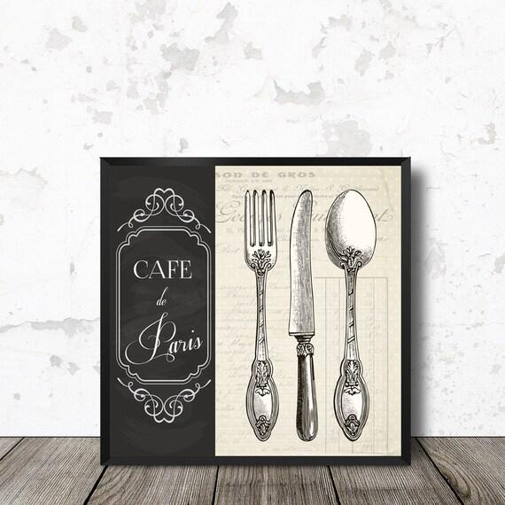 Kitchen Wall Art Vintage Cutlery Cafe De Paris Graphics
