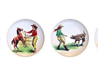 Set of 4 Cowgirl Ceramic Knobs Drawer Pulls for Furniture or Cabinets Vanity