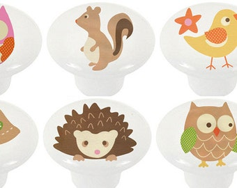 Love and Nature Ceramic Animal Knobs   Set of 6