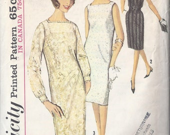 Vintage Simplicity Pattern # 5490 1964 Misses One Piece Dress and Slip