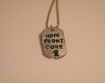 Hope Fight Cure dog tag necklace - cancer - survivor - gift