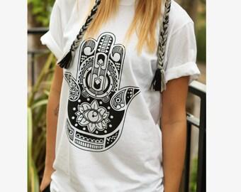 HAMSA HAND t-shirt shirt tee unisex mens womens boho kitsch fatima hand tumblr pinterest instagram blogger zoella 100% cotton gift*brand new