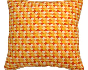 Stunning reversible Feather Stripe Summer Citrus Orange cushion cover 45cm 18""