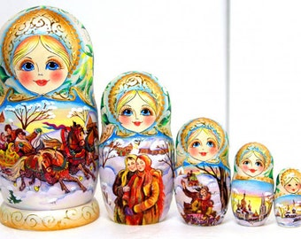 Russian nesting doll Three horses - beige - matryoshka babushka dolls kod252