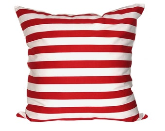 """Decorative Cushion Cover Handmade Red and White Stripe With White Backing (50 x 50 cm/20 x 20"""" cover)"""