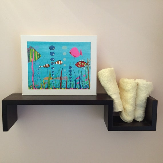 tropical fish coral reef bathroom decor aqua by