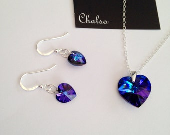 Heliotrope hearts, Sterling silver necklace and earrings with sparkly Heliotrope Swarovski hearts, blue hearts, purple hearts for her