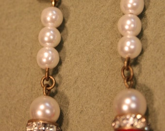 Long Pearl Earrings Wiith Vintage Components