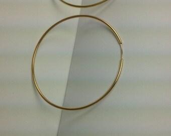 Sterling silver gold vermeil thin hoop earrings