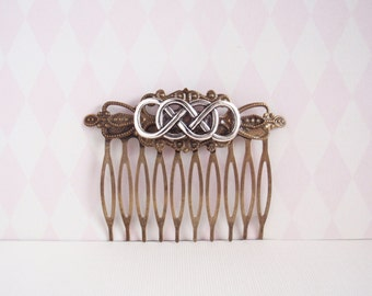 Silver double infinity celtic hair comb vintage formal bridal wedding elegant