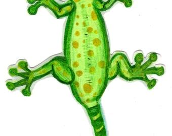 Green coloured clip art Gecko