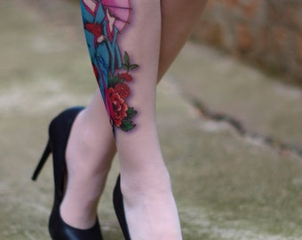 Tattoo-socks, colorful Geisha Japanese realistic looking tattoo pantyhose, tattoo tights, tattoo socks