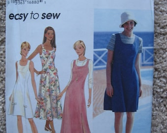 UNCUT Misses' / Miss Petite Dress or Jumper and Top - Simplicity Sewing Pattern 9668 - Vintage 1995