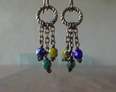 Blue Green Yellow Shiny Czech Glass Beads on Chains Bronze Earrings
