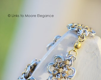 Flowery Aluminum and Brass Chainmaille Chain Bracelet, Chainmail Bracelet, Chainmail Jewelry