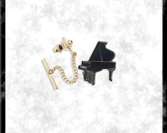 Gold & Cloisonné Piano Tie Tack