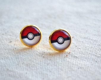 Pokemon earring,Pokeball earrings, stud posts earrings,anime post earrings,anime jewelry - Buy 3 get 1 free  (EH003)