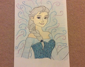 Disney Elsa from Frozen Drawing A4 Print