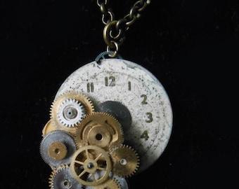 Steampunk Clock Face Pendant Necklace