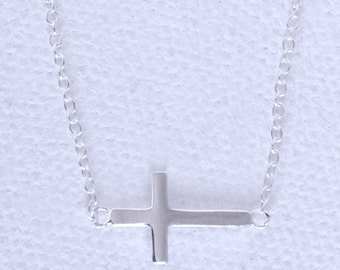 Sterling Silver Dainty Side Cross Necklace