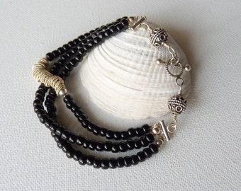 Sterling Silver Black Beads Bracelet Vintage Handmade Glass Bracelet, Boho Bracelet Mutistrand 925 Jewelry 70's,Retro Bracelet,Retro Silver