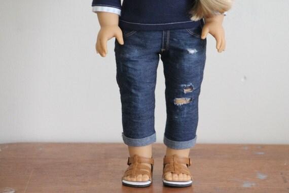 Dark Wash Denim Distressed Cuffed Skinny Jeans for American Girl Dolls