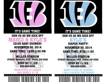 Printable Baby Shower Cincinnati Bengals Football Ticket Invitations Invitations
