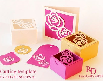 Rose Gift set - Favors box, card and 3 tags template (Studio V.3, gsp, svg, dxf, ai, eps, png) Bride, party Favor Silhouette Cameo