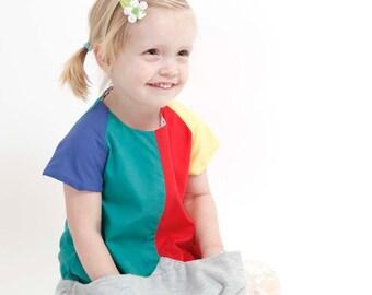 Carmencita – Coloured balloon dress with big pocket, Size 86-92 (2-3 y.)