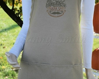 "Dr Dapper's Moustache Wax apron. 24""L x 28""W professional 3 pocket full bib apron. 22 color options. Holiday fun! Customize."