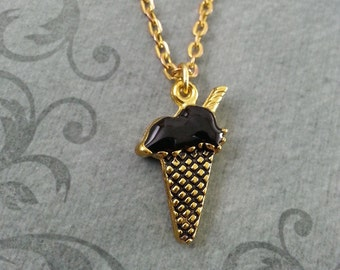 Black Ice Cream Cone Necklace, Ice Cream Gift, Ice Cream Jewelry, Ice Cream Cone Pendant, Ice Cream Cone Charm Stocking Stuffer Food Jewelry