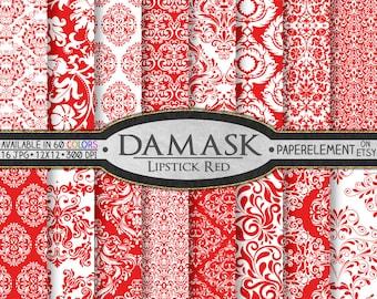 Red Damask Digital Paper: Bright Red Damask Backgrounds, Printable Red Damask Paper, Red Damask Patterns, Red Digital Damask Paper Download