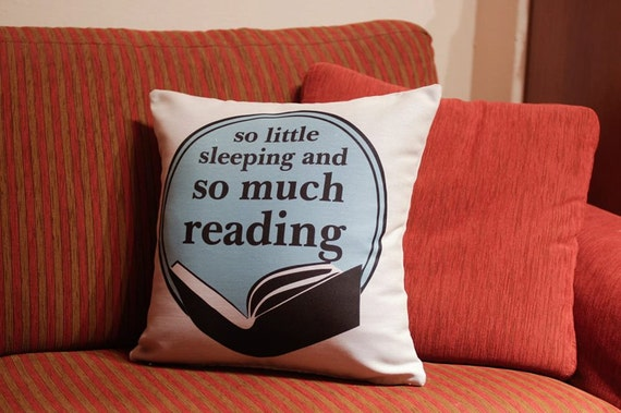 Full set: 1 bookish pillow case + 1 bookish fridge magnet + 1 bookish pinback button | book lovers gift quote so much reading for bookworms