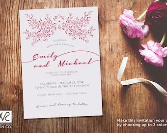 Customizable Wedding Invitation - Printable Digital File