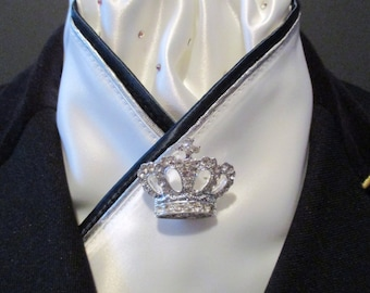Stunning White Dressage Stock Tie with Navy and Silver Trim, Diamante Pin