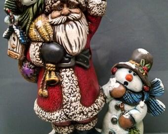 SALE!!!Snowman Santa -- Heirloom-quality handpainted ceramic Santa -- Christmas mantel decor
