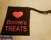 Personalised Dog Treat Bag with Heart Print for Training Classes or Walkies FREE UK P&P