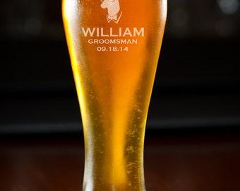 Beer Glass, Groomsmen Gift, Custom Beer Glass, Personalized Beer Glass, Etched Beer Glass, Pilsner, Wedding Gift, Birthday Gift, Monogram.